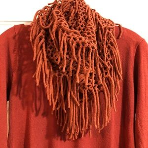 Orange sweater and infinity scarf